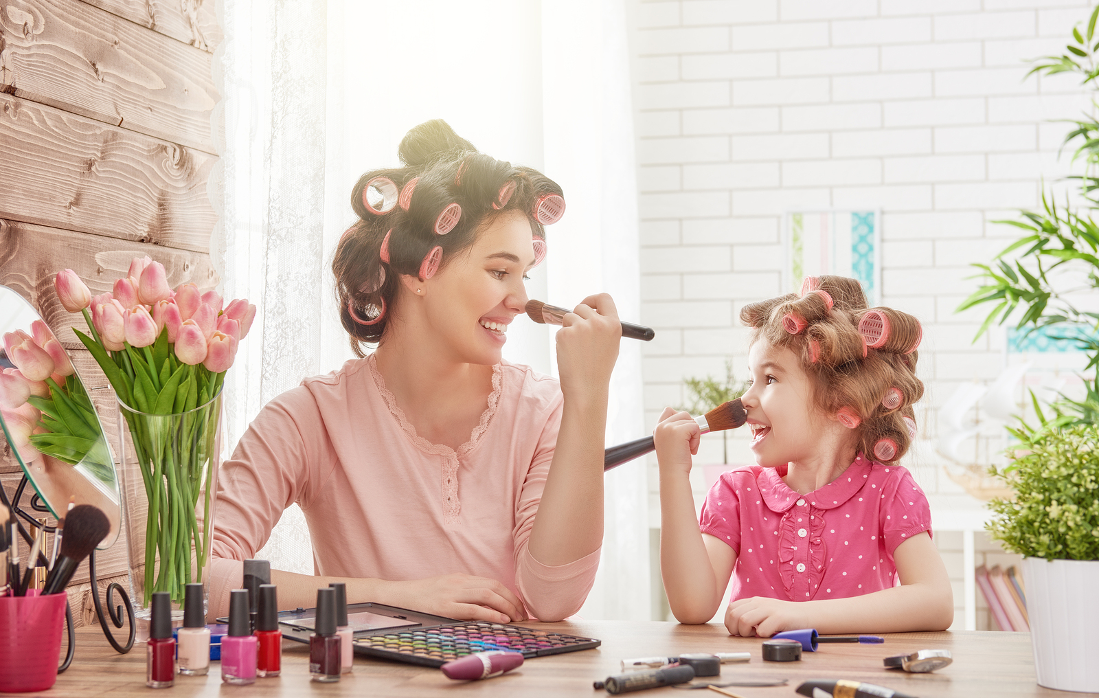 Mother and Daughter doing hair and make up together