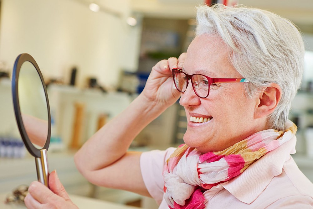 senior woman with progressive eyeglasses
