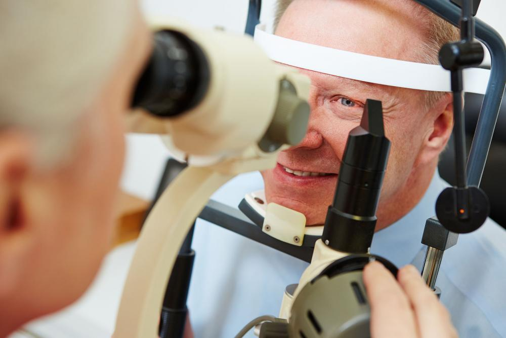 Man getting his eyes checked at his optometrist.