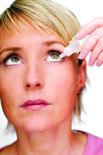 Woman treating her dry eye with eye drops from her optometrist in mapleridge eye doctor