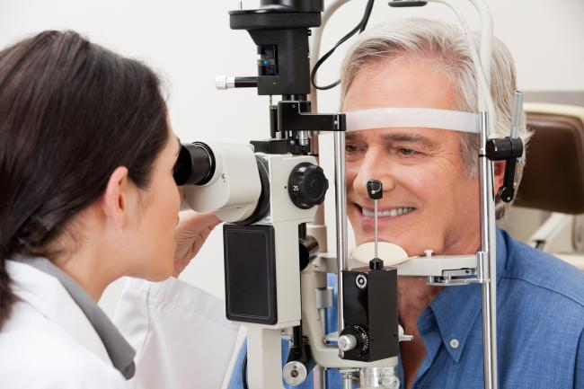 patient getting tested for narrow angle closure glaucoma in Maple Ridge, BC
