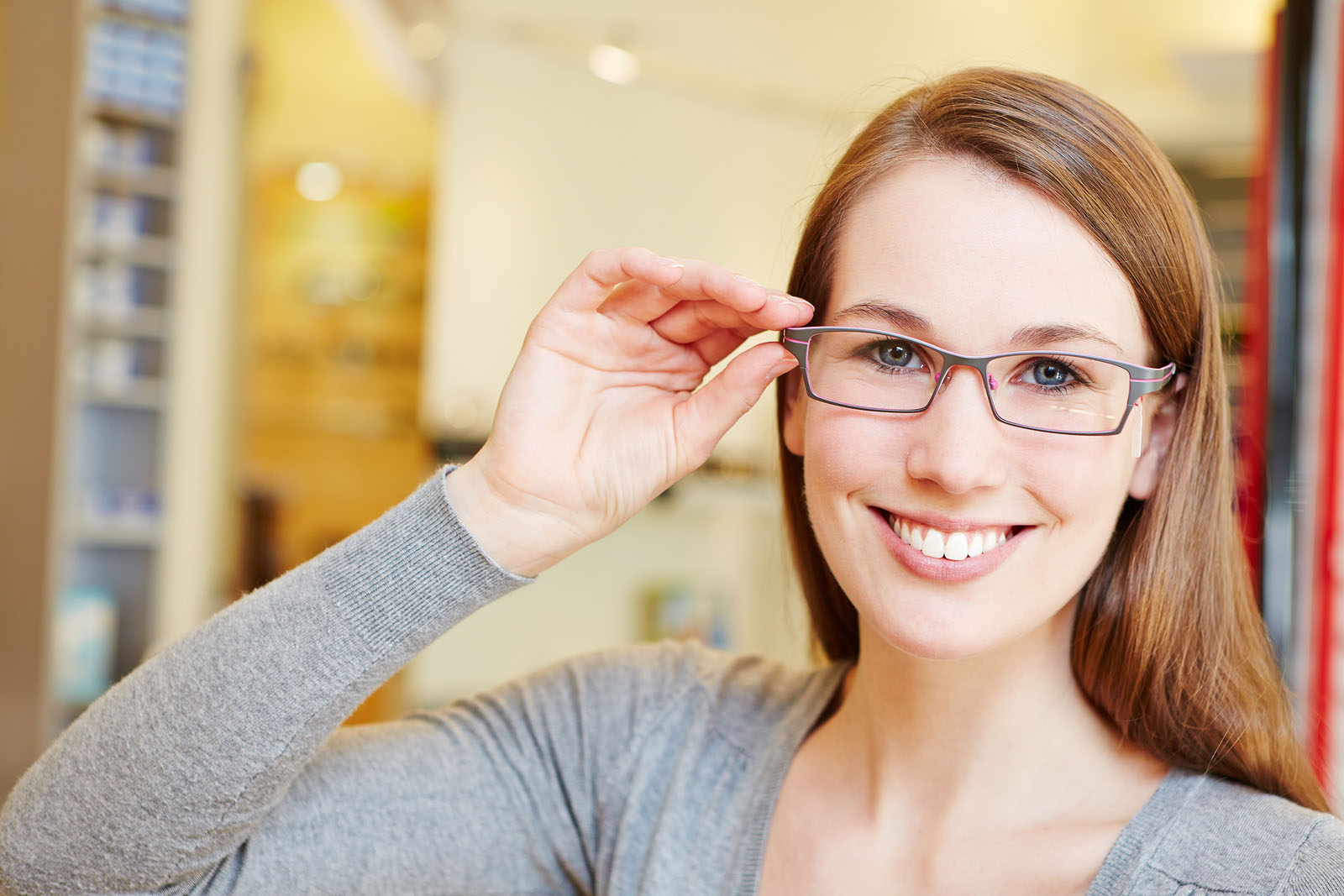 Woman in eyeglasses custom from Arlington Optometrist