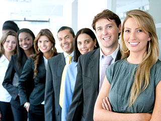 Business People Lined Up In A Row Smiling - Meet The Staff Pensacola- Fifty Dollar Eye Guy 5328 N Davis Hwy Pensacola, FL 32503 (850) 434-6387