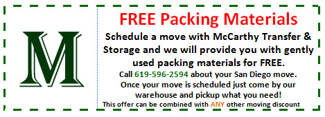 Free gently used packing materials when you schedule a move in San Diego