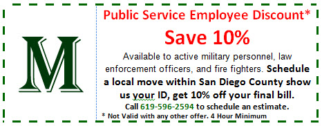 10% off San Diego Moving Coupon for Public Servants